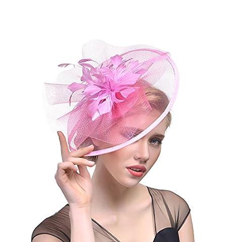 DUUMY Femmes 2017 New mode Feather net Harnais Banquet Chapeau Chevaux Chapeaux Danse Bride Gauze Handmade Headdress Bijoux de Mariage , pink