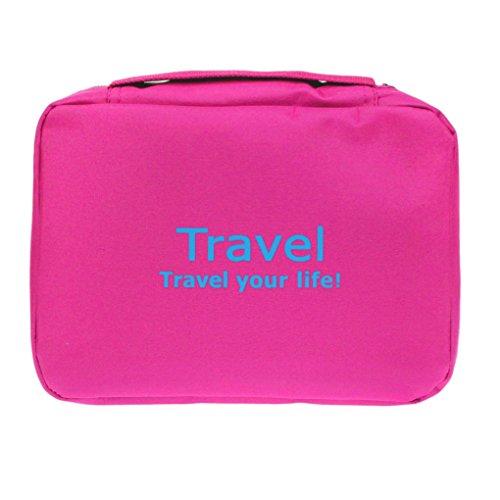 Bao Core Trousse de Toilette Portable Imperméable Sac de Rangement Voyage Sac Grand Format avec la Fermeture Zippée - Rose