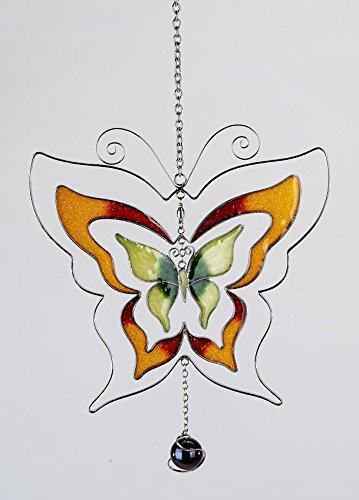 Formano - Moderne Hängedeko Fenster-Hänger Dekohänger - Fensterbild als Schmetterling - Frühling Sommer orange 17cm