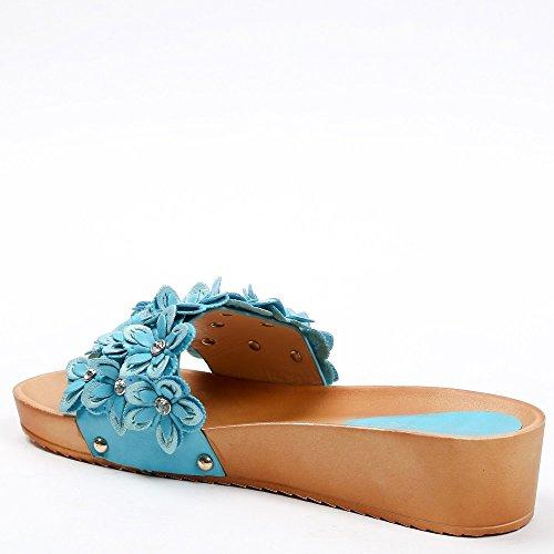 Ideal-semi-Pantofole Shoes compensate Madelie decorate con fiori Blu (blu)