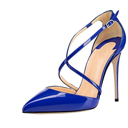 elashe- Scarpe con Tacco Donna - con Cinturino alla Caviglia - 12CM Alto - Grande Taglia Scarpe Blu EU37