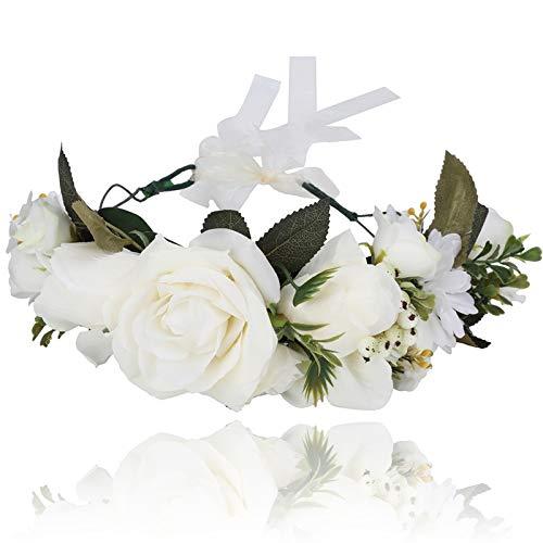 AWAYTR Boho Blumenkrone Stirnband Festival Kopfschmuck - Handgefertigt Blume Haarkranz mit Band Beere Blumenstirnband für Frauen und Mädchen Kleid (Beige) -