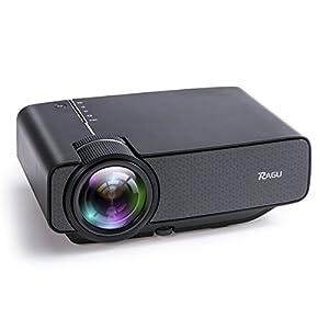 Vidéoprojecteur Lecteur multimédia portable, RAGU Z400 Mini Projecteur LED 1600 d'efficacité lumineuse résolution 800x480 supporte Full HD 1080p pour PC Laptop PS4 XBOX Smartphone Android iPhone Box TV, Noir