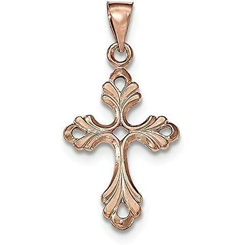 In oro rosa 14 k, con pendente a croce di Claddagh, JewelryWeb - Rosa Claddagh Pendente
