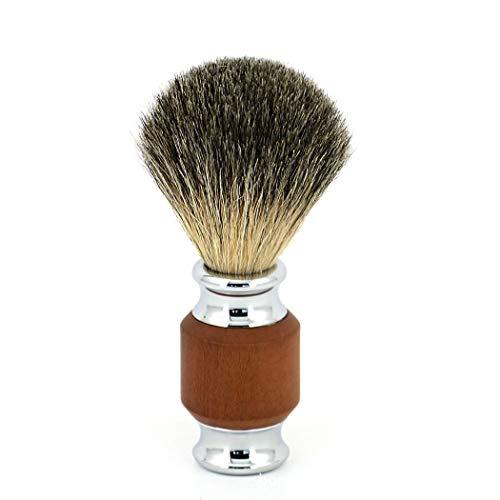 Pennello da barba in puro tasso con manico in legno di lusso, barba facciale, spazzola da barba in schiuma da barba o qualsiasi altro rasoio manuale,Brown