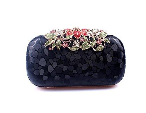 WBAG Frauen-Beutel-Kupplungs-Kleid-Abend-Partei-Hochzeits-PU-Schulter-Handtasche Diamond Multi-Color, Black - Black Diamond-kupplung