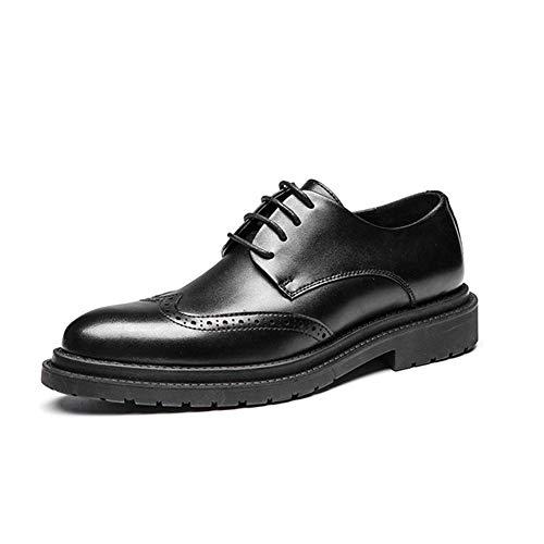 LXYIUN Herren Business Schuhe,Geschnitzt Formell gekleidet Freizeit Einzelne Schuhe Lackleder britischer Stil Gezeiten Schuhe,Black,44 -