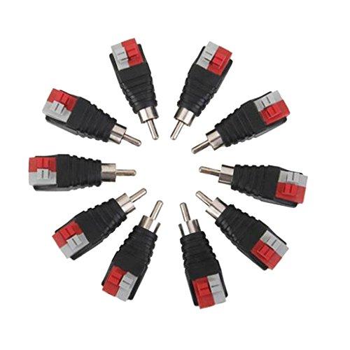 Gazechimp 10 Stk. RCA Männlich Anschluss zu Lautsprecherkabel mit Drucktaste - Mehrfarbig