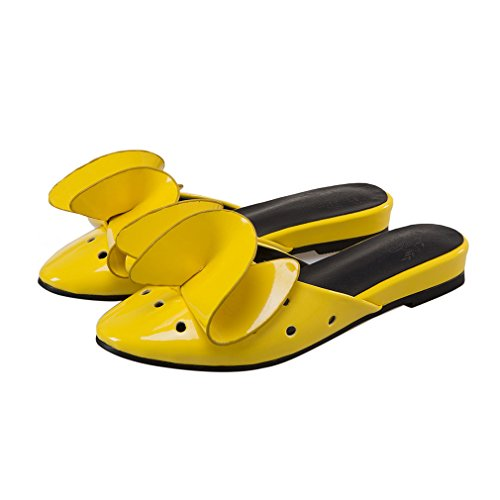 ENMAYER Frauen Lackleder Flats Casual Schuhe Sommer Bowties Charms Plus Size Slippers Gelb