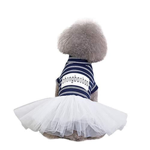 (Hawkimin Hunde Kleidung mops Mode Einfache Pet Kostüme Frühling und Sommer Brief drucken Streifen Spitze Breathable New Striped Rock)