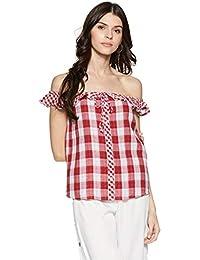 Stalk Buy Love Women's Cotton Checke Kylie Ruffle Detail Off Shoulder Top
