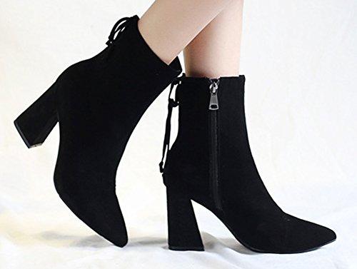 Fermeture Noir Mode Eclair Bottines Noir Chunky Aisun Femme q50x4Swnt
