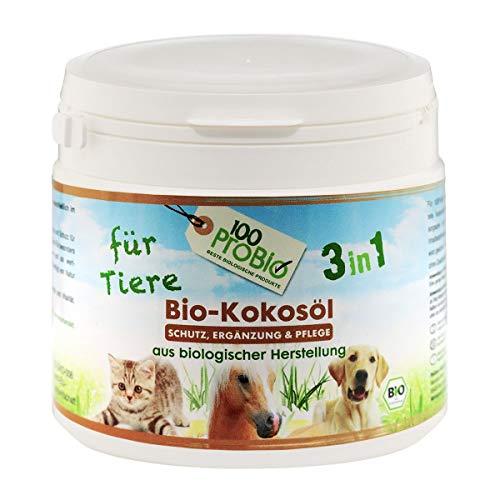 100ProBio Kokosöl für Tiere -EIN natürlich wirksamer Schutz gegen Zecken, Milben, Parasiten & Fellpflege ohne Chemie (500ml)