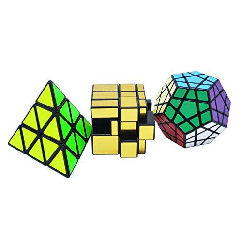 Maomaoyu Zauberwürfel Geschenkset Pyraminx + Megaminx +Mirror Speed Cube Set Magischer Würfel Puzzle Pack(Schwarz) -