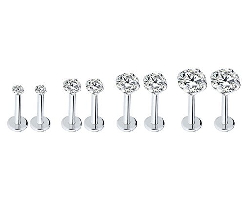Injoy Jewelry 16G Stainless Steel 2-5mm Round Cubic Zircon Lip Rings Labret Monroe Tragus Nose Helix Ear Piercing Jewelry 6mm Bar Length, 4 Pairs