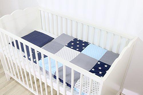 ULLENBOOM ® Babybettwäsche Set Blau Hellblau Grau (2 tlg. Baby Bettset: Kissenbezug 35x40 cm & Bettdeckenbezug 80x80 cm, Motiv: Sterne, Patchwork)
