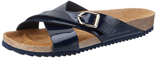Tommy Hilfiger Damen De Sm L1285ena 1d Offene Sandalen mit Keilabsatz Blau (Midnight 403)