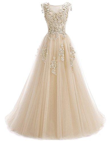 Annxrose Damen Lange sehen durch Rundhals Perlenstickerei Strasssteine Appliques Tüll A-Linie Formelles Kleid Abendkleid Champagner 42