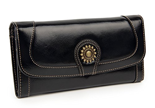 FNTSIC Women's Large Capacity Wax Genuine Leather Purse Ladies Wallet (Black)