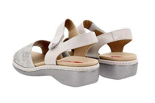 Fu脽bett mit Sandale bequem Komfort Gris herausnehmbarem Damenlederschuh breit 1807 PieSanto wYwTBH
