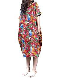 ACHIOOWA Mujer Vestido Cuello Redondo Manga Corta Dress Estampado Linea A Floral Impreso Bolsillo Etnico Tribal