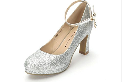5b3291ae564f9 SFSYDDY-Spring Rough Heels Wedding Shoes Women with Cheongsam Models  Performances Show High Heels Waterproofing Sequins Etiquette banquets  Single ...