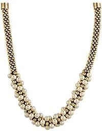Zeneme Antique Stone White Gold Designer Necklace Set / Jewellery Set For Women/Girls