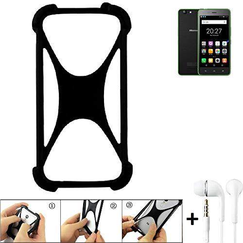 K-S-Trade Bumper Hisense Rock Lite Schutzhülle Handyhülle Silikon Schutz Hülle Cover Case Silikoncase Silikonbumper TPU Softcase Smartphone, schwarz (1x), Headphones