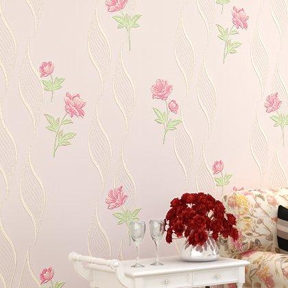 Retro Floral Wallpaper (Retro Country Flower Pattern Umweltfreundlich Beautiful Floral Wall Paper Hintergrundbilder für Wand für Wohnzimmer Schlafzimmer TV Hintergrund Wand 0,53m (52,8cm) * 10Mio. (32,8') M = 5.3sqm (M³), Wallpaper only, Pink 5-8702)