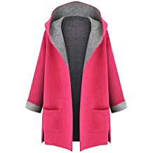 Minetom Mujer Otoño Invierno Suelto Abrigos con Capucha Moda Parka Trench Coat Elegante Bolsillos Chaquetas Tallas