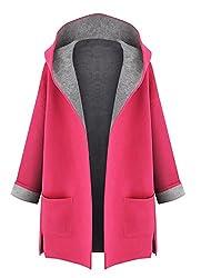 Minetom Damen Mantel Jacke Trenchcoat Outwear Mit Kapuze Rot DE 34