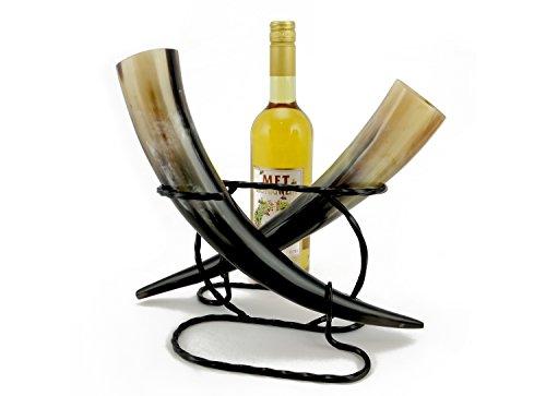 Trinkhorn Geschenk Set 2 Hörner 0,2l mit doppel Ständer und 0,75l Met Honigwein