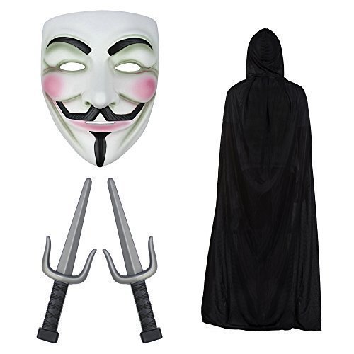 V for Vendetta Maske, Kapuze Cape & Sais Knives Modisches (V Kostüme Vendetta)