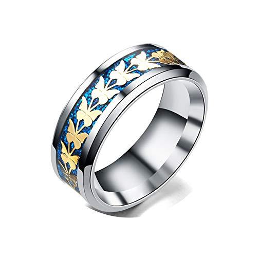 KnBoB Ringe Damen Schmetterling Blau Gold Silber für HerrenRinge Gr.70 (22.3) Edelstahl Ringe
