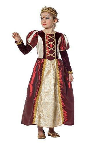 Prinzessin Kleid Mädchen Gold rot lang Königin Fantasy Märchen Karneval Fasching Theater Hochwertige Verkleidung Fastnacht Größe 152 ()