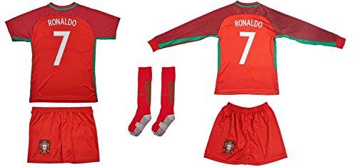 Portugal #7 Ronaldo Euro 16 Heim Kinder Trikot und Hose und langen Socken mit langen oder kurzen Ärmeln (Kurzarm, 140)