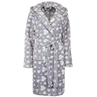 Brandsseller Ladies Hearts Supersoft Flannel Dressing Gown/Bathrobe with Hood - S/M (10-14) - Light Grey/White
