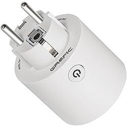 Prise Connectée WiFi,Grefic Prise WiFi Intelligente Fonctionne avec Amazon Alexa/Google Home/IFTTT pour la Commande Vocale,Télécommande Programmable et Minuterie via Android iOS Phone