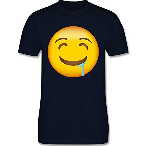 Shirtracer Comic Shirts - Emoji Wasser IM Mund - Herren T-Shirt Rundhals Navy Blau