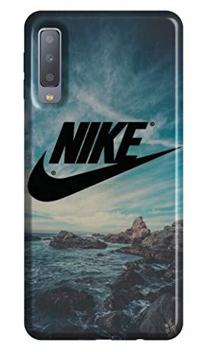 WorldSell Flexible Silikon Schutzhülle Ultra-Slim Gel TPU Bumper Cover Durchsichtige Rückschale Weiche Handyhülle für Samsung A7 2018 LOGHI 016 Nike Flexible Gelee