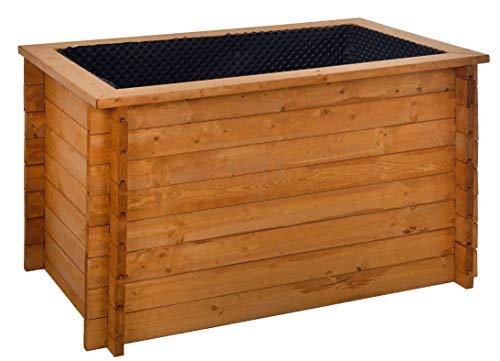 GASPO Hochbeet für Balkon und Garten | Kräuterbeet aus massivem Holz | 130 x 80 x 85 cm | inkl Noppenfolie und Wühlmausgitter