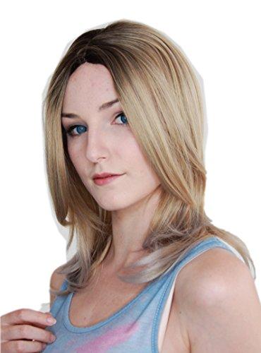 Prettyland perruque ondulée de cheveux blonds blonds ombre cheveux longs  perruque dégradé C854