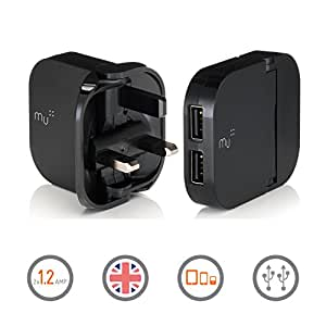 Made In Mind Portable Charger by Mu | British Duo Charger | Universal Adapter iPhone Charger for All Smart Phones and Tablets | 2 x 1.2Amp Dual USB ports in Black
