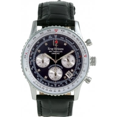 krug-baumen-400508ds-air-traveller-blue-dial-black-strap