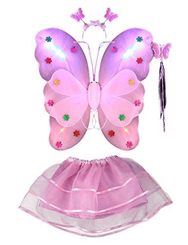 Thee, costume da elfa o principessina in 4 pezzi a forma di ali di farfalla con luci LED e bacchetta magica, costume per bambine in occasione di feste, carnevale, Halloween, martedì grasso Rosa