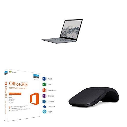 Microsoft Surface Laptop 34,29 cm (13,5 Zoll) (Intel Core i5, 256GB Festplatte, 8GB RAM, Win 10 S) Platin Grau + Microsoft Arc Maus, Ultra-Portable, schwarz + Microsoft Office 365 Home multilingual (Laptop Microsoft Screen Touch)