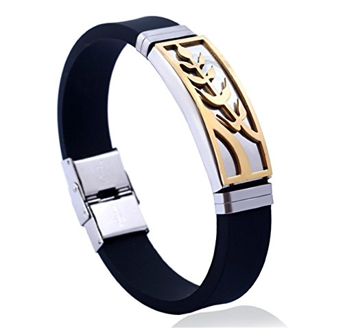 Qingsun Silikon Armband Herren Jungen Mode Schmuck Faltschließe Armband Schwarz Silber (1 Stück) (Schwarz 3)