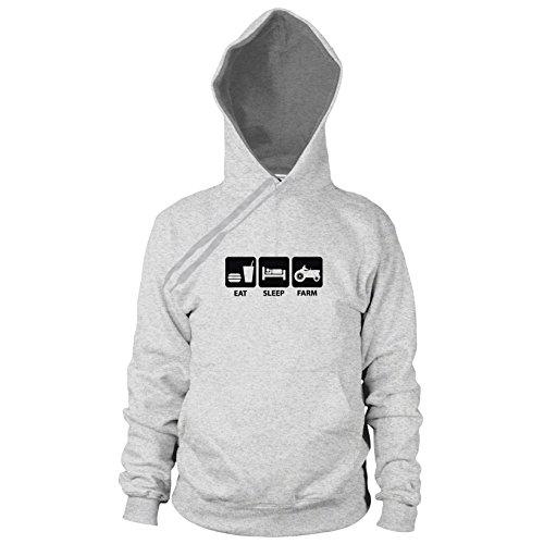 (Eat. Sleep. Farm - Herren Hooded Sweater, Größe: L, Farbe: grau meliert)