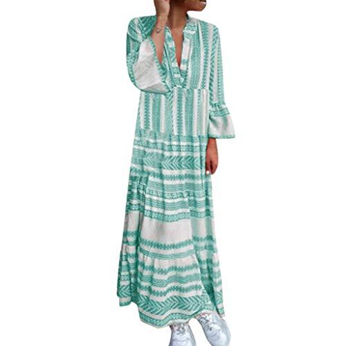 Tohole Damen Strandkleid Boho Sommerkleid V-Ausschnitt Blumenkleid Lose Kleid Floral RüSchen Punkte Sommerkleider Strandkleider Casual Langer Rock(Grün 1,S) -