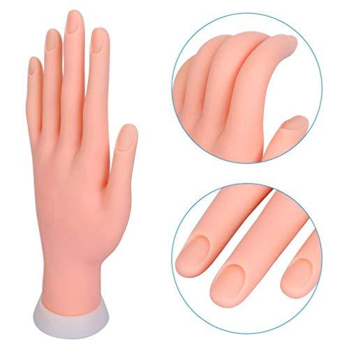 Mano per Pratica Modello Flessibile Movable Morbida Plastica per Nail Art Manicure Dito di Formazione 9.3 * 6.0 * 24.5